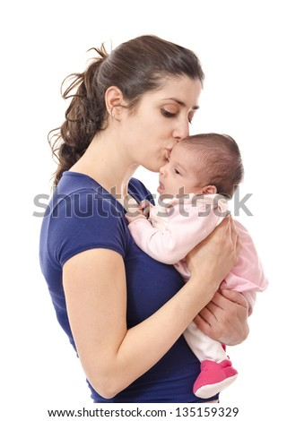 Mum kissing newborn. isolated over white.