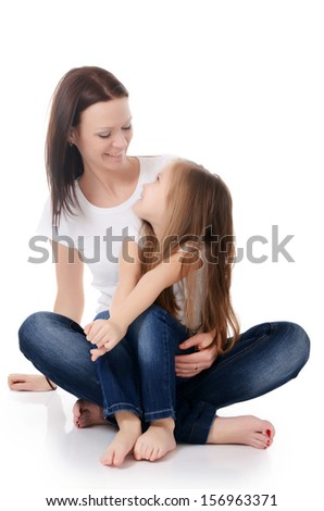 Mum with a daughter isolated on white background