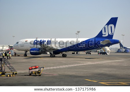 MUMBAI, INDIA - JANUARY 12, 2012: GoAir Airbus A320 at Chhatrapati Shivaji International Airport. GoAir is an Indian low-cost airline based in Mumbai.