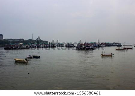 Mumbai/Maharashtra/India 16-10-2013 Mumbai sea port. Gateway Of India Mumbai, group of boats, small boats, evening in mumbai. #1556580461