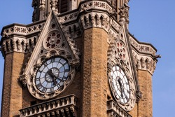 Mumbai, Maharashtra, India: The Rajabai Clock Tower is a clock tower located in the confines of the Fort campus of the University of Mumbai. The tower stands at a height of 85 m.