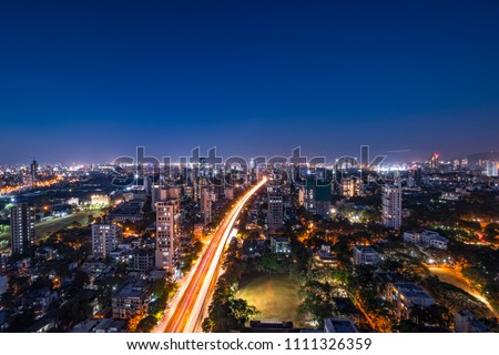 Mumbai night view cityscape- Dadar Matunga skyline