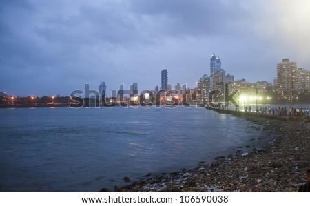 Mumbai skyline at night, India