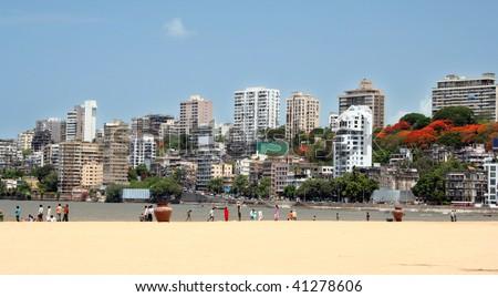 Mumbai skyline view from the beach