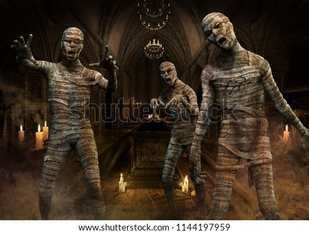 Mummies scene 3D illustration