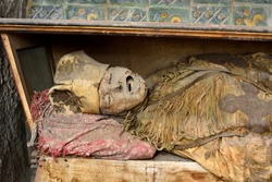 Mummified bishop in the catacombs of the Capuchin monastery in Palermo, Sicily.