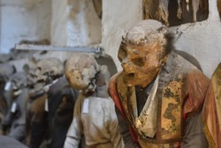 Mummified remains in the catacombs of the Capuchin monastery in Palermo, Sicily.