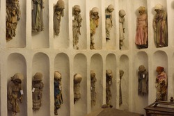 Mummified remains of children in the catacombs of the Capuchin monastery in Palermo, Sicily.