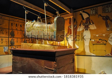 mummy coffin / sarcophagus in burial chamber Stock photo ©