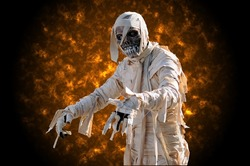 Mummy in an halloween night with flames