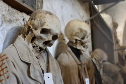 Mummy in the catacombs of the Capuchin monastery in Palermo, Sicily.