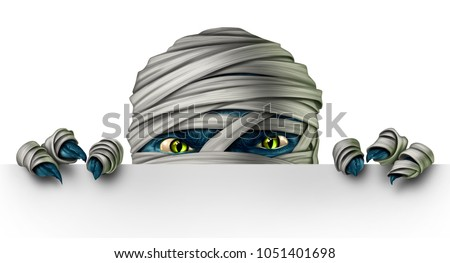Mummy monster peeking behind a blank white sign as an angry creepy zombie mutant hiding behind a billboard as a halloween message concept in a 3D illustration style.