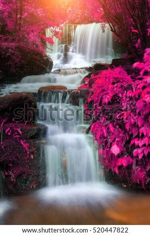 Mun Daeng Waterfall, the beautiful waterfall in rain forest, Phu Hin Rong Kla National Park in Thailand