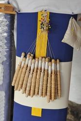 Mundillo and wooden bobbins to make Almagro lace. Traditional textile crafts from Ciudad Real province Castilla la Mancha Spain. Spanish handicrafts