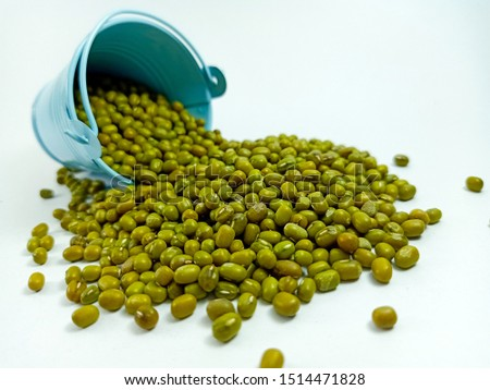 Mung beans in the blue bucket fell over the ground and isolate from the white background.