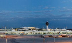 Munich Airport at Night, Munich, Bavaria, Germany.