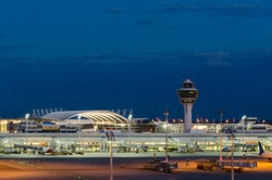 Munich Airport near Freising at Night, Bavaria, Germany.