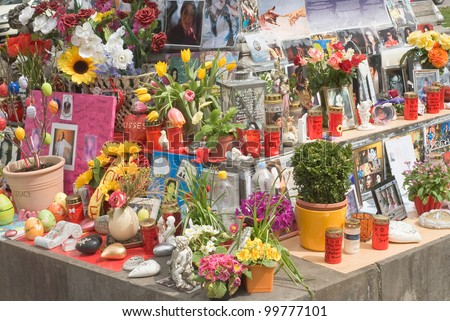 MUNICH  APRIL 10: Easter Decorations with Candles and Eggs are assembled at Memorial for Michael Jackson on April 10, 2012 in  Munich.