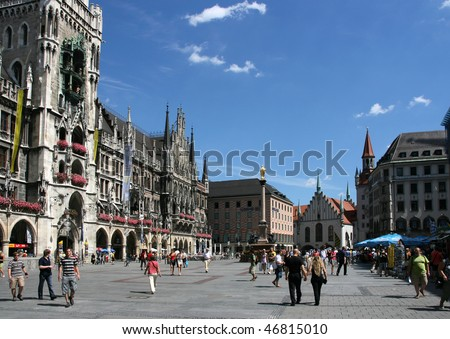 MUNICH - AUGUST 7: View of famous Marienplatz on August 7, 2008 in Munich, Germany. Marienplatz is the always crowded very heart of the city.