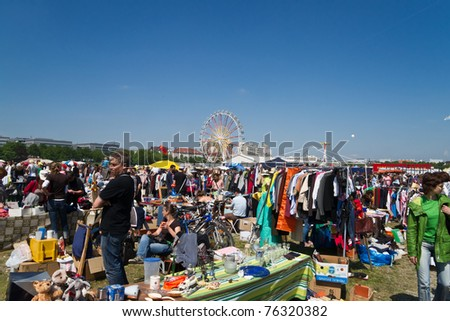 MUNICH, GERMANY - APRIL 30: General view of  giant flea-market at Theresienwiese April 30, 2011 in Munich, Germany. The market is part of the annual Munich spring festival.