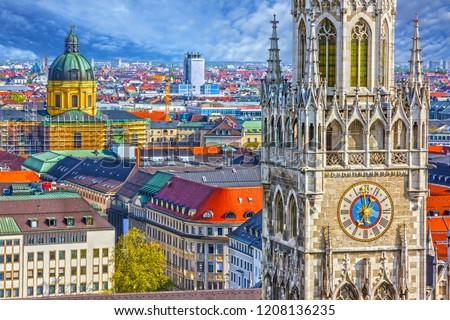 Munich, Germany, Bavaria. Marienplatz town hall architecture #1208136235