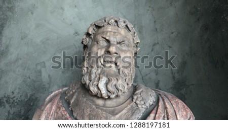 MUNICH, GERMANY, CIRCA JANUARY 2018- Statue of angry man inside Munich Residential Residenz #1288197181