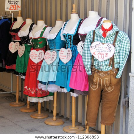 MUNICH, GERMANY - CIRCA JUNE 2012: Traditional Bavarian clothes on display, for sale in a shop circa June 2012 in Munich. The famous annual Oktoberfest takes place at the end of September each year.