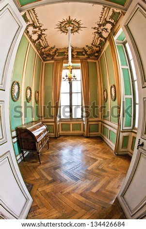 MUNICH, GERMANY - JULY 8: inside nymphenburg castle on July 8,2011 in Munich, Germany. It owes its foundation as a summer residence to the birth of the heir to the throne, Max Emanuel,  born in 1662.