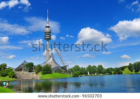 MUNICH, GERMANY - JUNE 12: Stadium of the Olympiapark in Munich, Germany, is an Olympic Park which was constructed for the 1972 Summer Olympics on June 12, 2011, Munich Germany