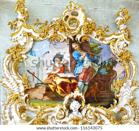 MUNICH, GERMANY - JUNE 07:  The fresco in Rococo style decorating interior of the Nymphenburg Palace. This palace was the main summer residence of the rulers of Bavaria.  June 07, 2012 Munich,