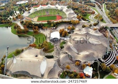 MUNICH, GERMANY - November 08: Stadium of the Olympiapark in Munich, Germany, is an Olympic Park which was constructed for the 1972 Summer Olympics on November 08, 2007, Munich Germany #247257469