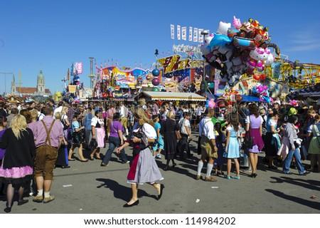 "MUNICH, GERMANY - OCT 3: amusement hut at world biggest beer festival ""Oktoberfest in Munich"" on October 3, 2012 in Munich, Germany"