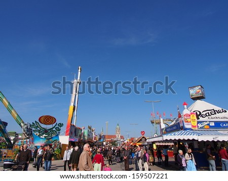MUNICH, GERMANY - OCT 2: Street view at Oktoberfest in Munich, Germany on October 2,  2013. Oktoberfest is the world\'s largest beer festival.