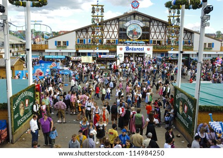 "MUNICH, GERMANY - OCT 3: tent of Pschorr brewery at world biggest beer festival ""Oktoberfest in Munich"" on October 3, 2012 in Munich, Germany"