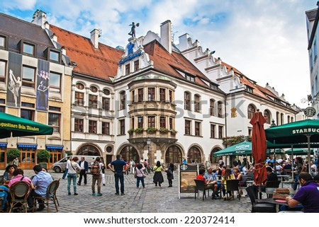 MUNICH GERMANY SEPTEMBER 06 2014 Cityscape with bier houses and restaurants outdoors on Platzl in Munich Bayern Germany September 06 2014