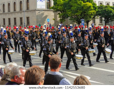 Munich, Germany - 22 September 2013 Oktoberfest, parade. Drummers. #1142553680