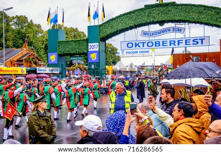 MUNICH, GERMANY - SEPTEMBER 16, 2017: The Oktoberfest is the world biggest beer festival and at the opening parade with rd. 9000 participants take part in historical costumes, music bands and horses.