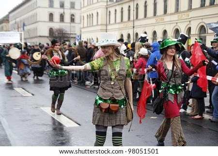 MUNICH - MARCH 11: street actresses at St. Patrick's day on March 11, 2011 in Munich, Germany. This national Irish holiday takes place annually in March in Dublin and other European cities.