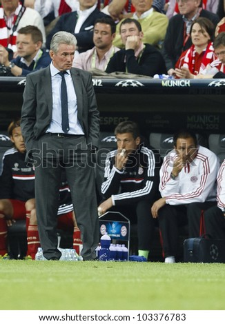 MUNICH-MAY 19 : The disappointed manager of FC Bayern, Jupp Heynckes during FC Bayern Munich vs. Chelsea FC UEFA Champions League Final game at Allianz Arena on May 19, 2012 in Munich, Germany.