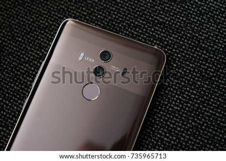 MUNICH, OCTOBER 2017 - A newly launched Huawei Mate 10 Pro smartphone with Leica dual camera is displayed for editorial purposes.