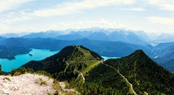 Munich's local mountains. Summit of Heimgarten, view breathtaking of the Lake Walchensee ans a view far across the Bavarian Alps, Prealps in Bavaria Germany, Europe