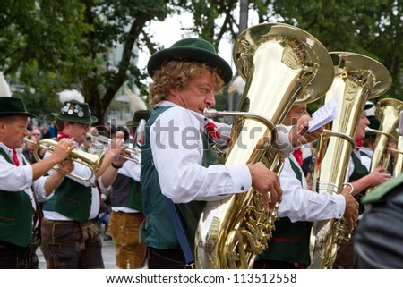 MUNICH - SEPTEMBER 22: Opening of Oktoberfest September 22, 2012 in Munich, Germany - stock photo