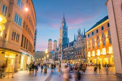 Munich skyline with  Marienplatz town hall in Germany