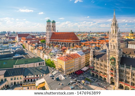 Photo of  Munich skyline with  Marienplatz town hall in Germany
