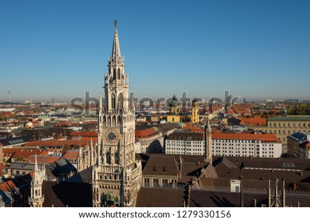 Munich view at new town hall and the city with blue sky