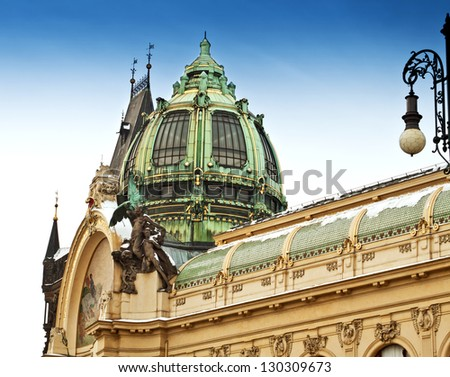 Municipal House and Powder Gate in Prague, Czech Republic