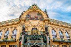 Municipal House - Art Nouveau historical building at Republic Square, Namesti republicky, in Prague, Czech Republic.