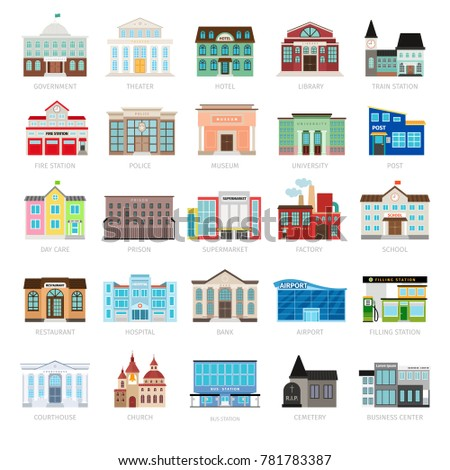 Municipal library and city bank, hospital and school icon set. Colored urban government building icons
