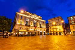 Municipio di Lugano is a Town Hall at the Piazza della Riforma Square in Lugano city in canton of Ticino, Switzerland