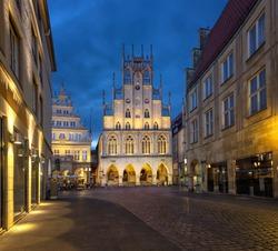 Munster, Germany. Historical City Hall at dusk